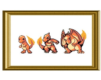 Charmander Evolution Pokemon Counted Cross Stitch Pattern PDF Gameboy Sprite