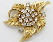 Vintage Lisner Brooch Golden Flower
