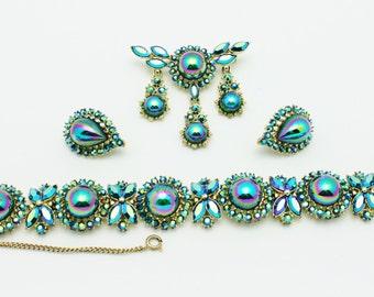 Coro Signed Blue Metallic Exquisite Parure