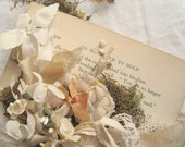 Boho Shabby chic ring bearer book by Jennifer Valentine, woodland wedding. One of a kind Wedding prop.