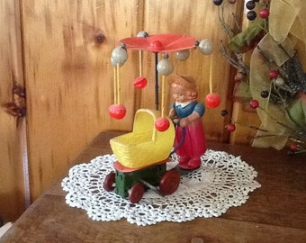 Antique Windup Toy Lady Pushing Baby Carriage 1940's Celluloid & Tin Rare On SALE