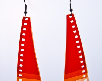 WINGS - Unique earrings made of 35 mm Film from the Collection : Armadillo / Unique Jewelery - Movie - Photograph - Orange - Red