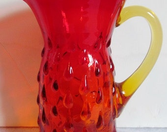 Vintage Amberina Small Hobnail Cream Pitcher Circa 1960's