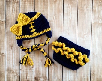Little Miss Football Beanie in Navy Blue and Gold with Matching Diaper Cover Available in Newborn to 24 Month Size- MADE TO ORDER