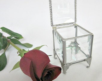 """Glass Box, Jewelry Box, Victorian Wedding Theme, Wedding Party Gift, Bridal Attendant  Gift, Gift For Mom, Flower Girl Gift, 2 x 2"""""""