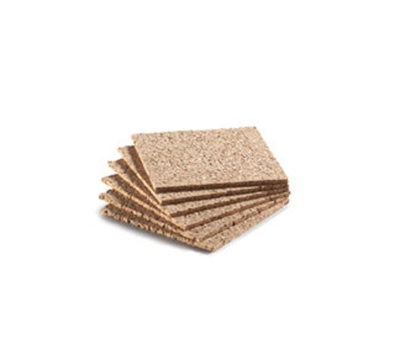 """SALE Cork Coasters Square, 4"""", 3mm, 1/8"""", Natural Cork, Coaster Cork, Package of Six New Cork Coasters"""