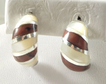 925 Sterling Silver Brown Obsidian Mother of Pearl Drop Earrings (7.7g) hand Crafted