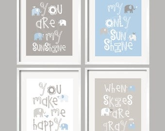 Baby Boy Nursery Art Print, You Are My Sunshine Nursery, You Are My Sunshine Wall Art, Boy Bedroom Decor, Elephant Art, Blue Gray 078