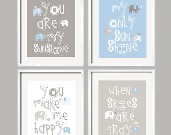 Baby Boy Nursery Art Print, You Are My Sunshine Nursery, You Are My Sunshine Wall Art, Boy Bedroom Decor, Elephant Art, Blue Gray 078