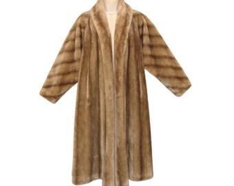 Faux Fur Coat, Full Length Swing Coat, Luxuriously Plush, Vintage 1950s