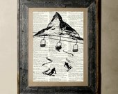 Buy 1 get 1 Free - Ski (Version 1) - Printed on a Vintage Dictionary, 8X10, dictionary art, paper art, illustration art, collage