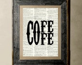 Buy 1 get 1 Free - Coffee - Printed on a Vintage Dictionary, 8X10, dictionary art, paper art, illustration art, collage