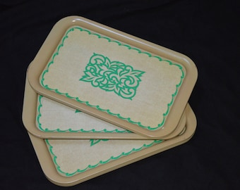 Set of 10 Vintage Serving Trays-Green Design