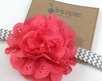 Coral & Gray Headband Eyelet Flower Headband  Chevron Rhinestone and Pearl