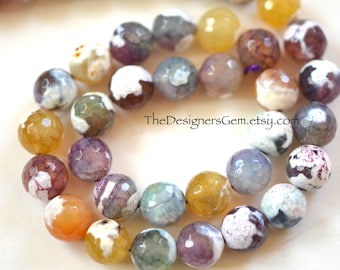 Large Multi Color Blue Purple Yellow White Fire Agate Faceted Rounds 11mm -1/2 STRAND