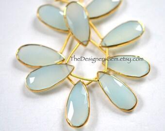 Beautiful Aqua Blue Chalcedony Elongated Pear Briolettes with Vermeil Gold Bezel Rim Rimmed Bead