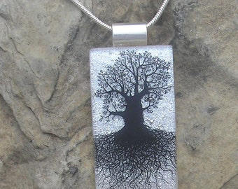 Silver Oak Tree of Life Necklace Dichroic Fused Glass Oak Pendant