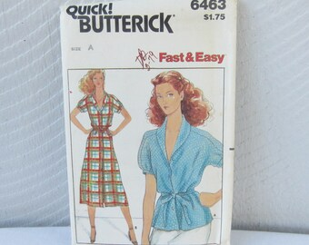 Pattern Butterick 6463 B6463 Dress and Top.  Fast & Easy Dress Pattern.  Size Misses 6 8 10 12 14.