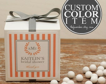 12 - Personalized Favor Boxes - Striped Monogram Label - Wedding Favors, Baby Shower Favors, Bridal Shower Favors, Monogram Favor Box