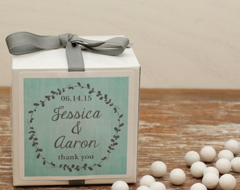 12 - Personalized Wedding Favor Boxes - Laurel Label Design - Laurel Bridal Shower Favors, Personalized Favor Box, Laurel Favor Labels