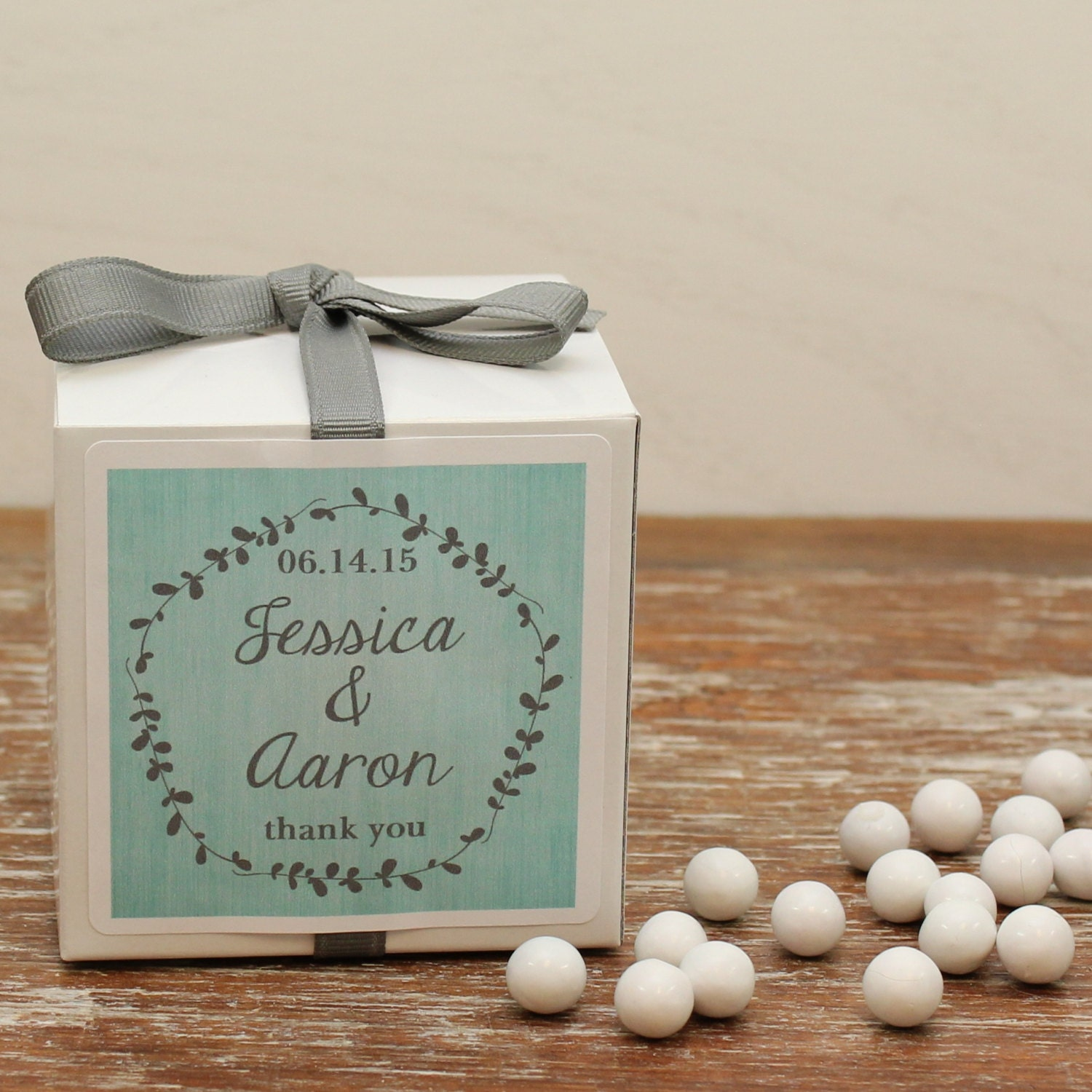 12 Personalized Wedding Favor Boxes Laurel Label By Thefavorbox