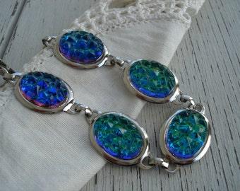 Vintage Bermuda Blue Green Mountaintop Glass Silver Bracelet Woodland Nature Inspired