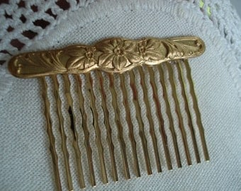 Vintage Art Nouveau Gold Hair Comb Woodland Flowers Floral