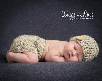Crochet Newborn Hat and Diaper Cover Set - Taupe -  Photo Prop