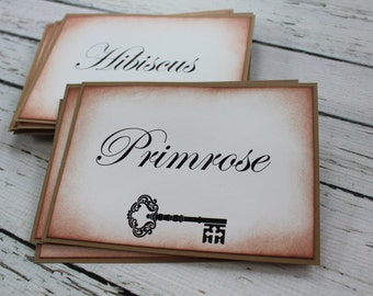 Customized Vintage Inspired Table Number Card - Skeleton Key