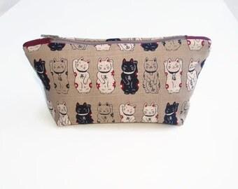 Kawaii Lucky Cat gift for women Make Up Bag Japanese Fortune Cat Zip Cosmetics Bag