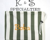 Preppy Laundry Bag Made For A Baylor-Backer/Green and White Striped Fabric, Gold Monogram/Gift:Graduation,Bridal Party,Travel,Summer Camp