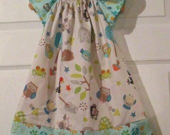 Peasant Style Butterfly dress - Jungle animals - Pick your size Newborn through 8 Years - Grey and aqua