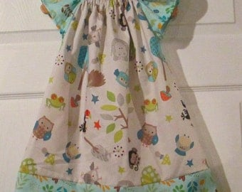 Peasant Style Butterfly dress - Jungle animals - Pick your size 9 Month through 6 years - grey and aqua
