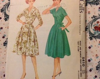 Vintage McCall's 5410 Wrap Dress Sewing Pattern 32 Bust