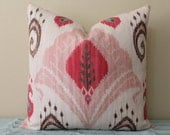 "NEW Ikat Print - 18"", 20"", 22"" or 24"" Square Decorative Designer Pillow Cover - Light Pink, Carnation/Orchid Pink, Dusty Aqua and Brown"