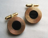 Art Deco Modernist 12K Gold Filled with Black Glass Stone Cuff Links