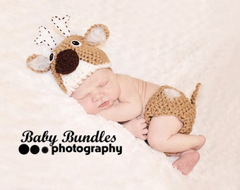 Newborn or 0-3 months  baby   Deer season diaper  cover hat set crochet Newborn photo props photography boy girl