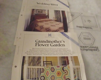 Grandmother's Flower Garden Wedding Ring Quilt Patterns Templates and Instructions