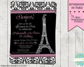 Afternoon in Paris - A Customizable Birthday Invitation - Digital File