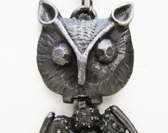 1960s Pewter Owl Pendant, kinetic, hinged