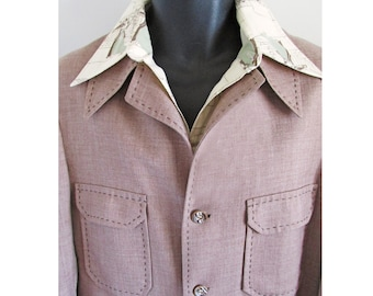1970s Western Cut Men's Suit with chest patch pockets and brown accent stitching by Slack Mates - stage-