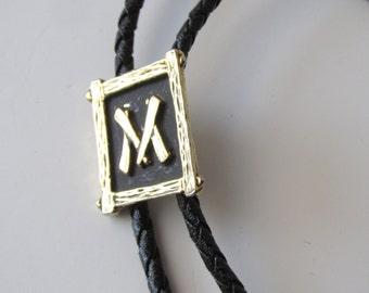 "1950s Tiki-Rockabilly Asian Font ""M"" Monogram Bolo Tie on Black Leather Cord -Gold Tone"