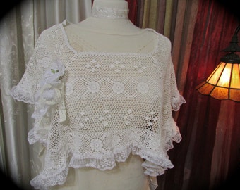 Shabby Lace Poncho, crochet victorian chic, vintage romantic, white cotton crocheted mori girl wrap, lace ribbon pearl embellished