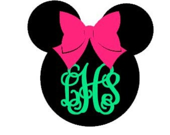 Minnie Mouse Monogram Decal - Car Decal - Disney - Minnie Mouse