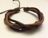 Round Light Brown hemp Ropes interlaced with Brown leather Bracelet