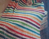 Vintage Afghan  Four Patterns  Crochet and Knitting Multi Colors Rainbow Stripes Floral Zig Zag Patterns
