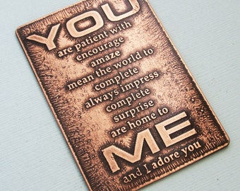 Etched Hand Stamped Metal Wallet Card - You... Me - Wedding - Engagement - Anniversary