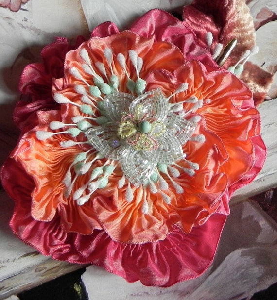 Coral Ribbonwork Corsage - Heirloom Ribbon and Beadworks