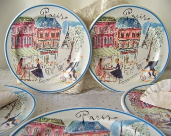 Vintage Paris Dessert Plates Rosanna Made in Italy Luncheon Salad Dessert Plates Set of Six Vintage 1990s