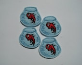 RED FISH In A Bowl Felt Embellishments / Appliqués - Set Of 4 - Ready To Ship